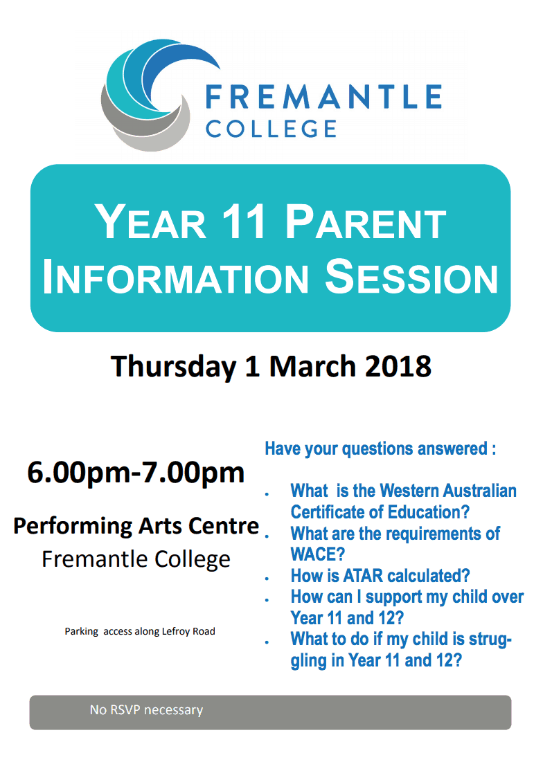 Year 11 Parent Information Session Fremantle College